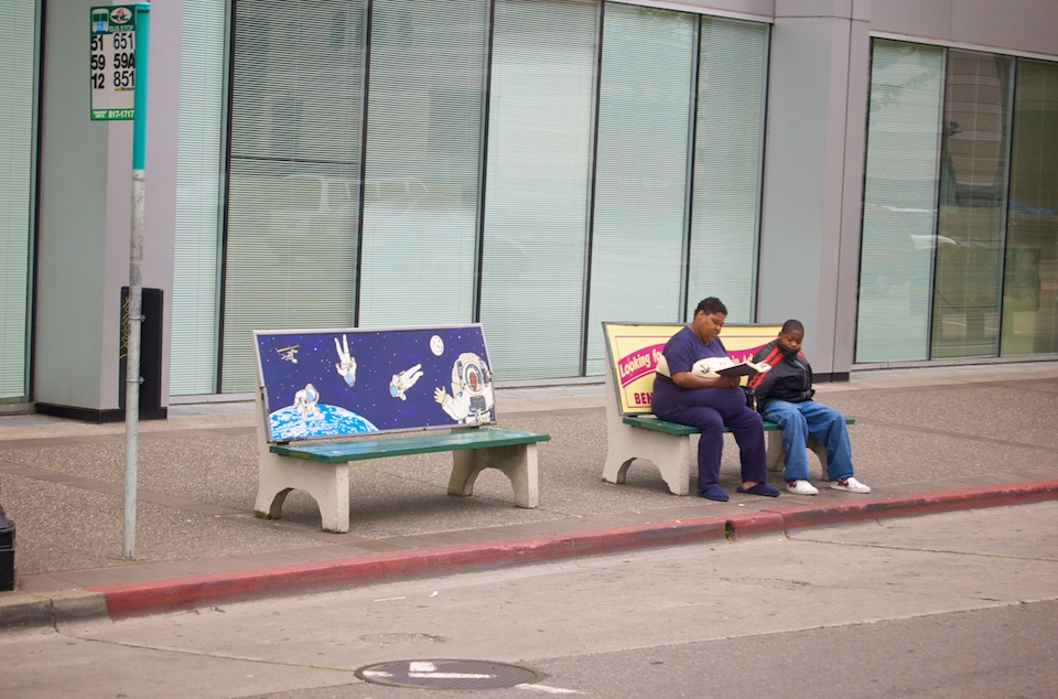 Anti-Advertising Agency Bus Stop Bench with people