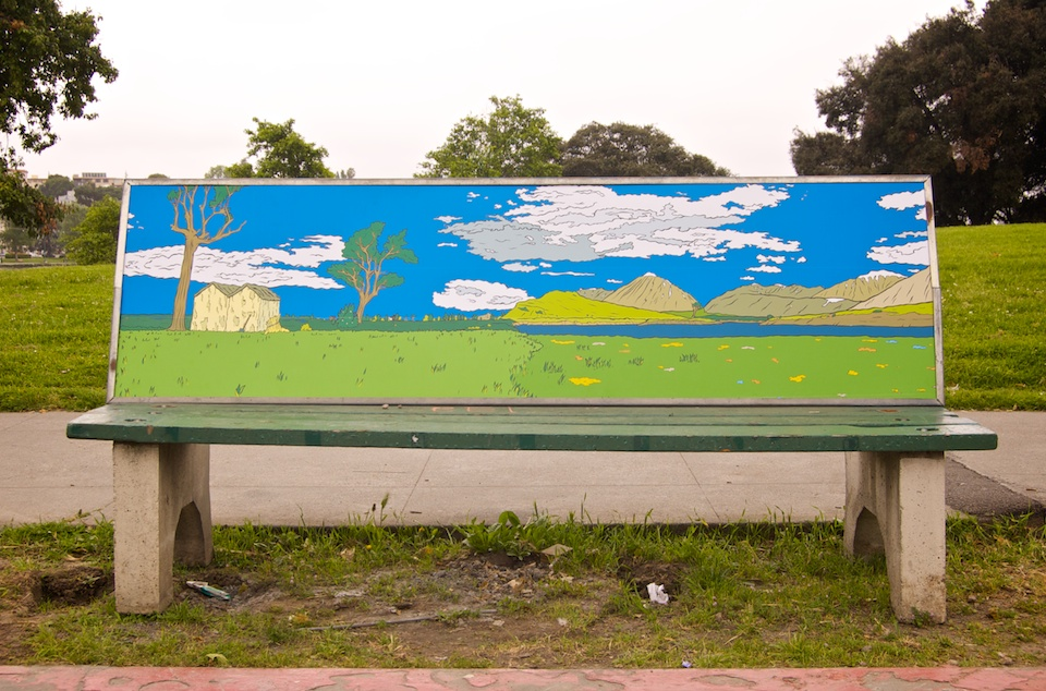 Anti-Advertising Agency Bus Stop Bench in park