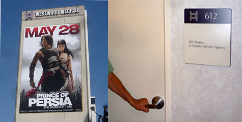 the supergraphic sign above for the movie prince of persia on a westwood office building is legally permitted as an on site sign which the la sign code anti advertising agency office